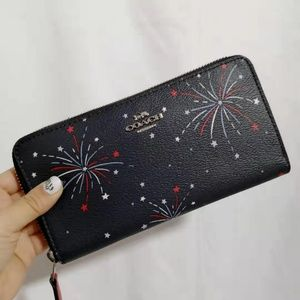 COACH Accordion Zip Wallet With Fireworks Print